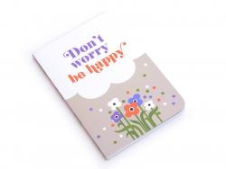 """Notizbuch in Taschenformat mit den Worten """"Be happy""""(15 cm x 10 cm) - 88 linierte Seiten"""
