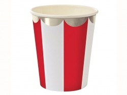 8 paper cups - Red stripes