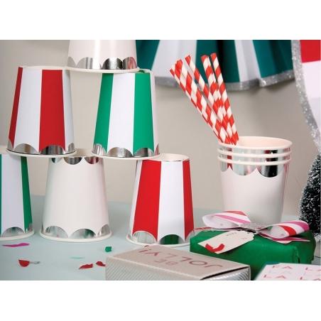 8 gobelets en papier - Rayures rouges