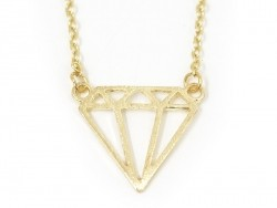 Delicate diamond necklace - gold-coloured