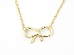 Delicate bow necklace - gold-coloured