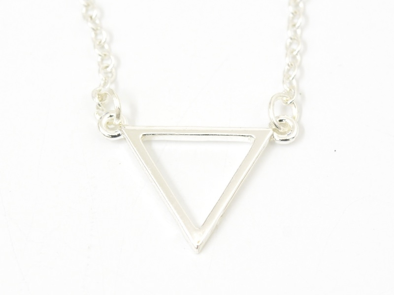 Collier fin triangle - argenté  - 2