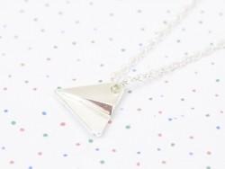 Collier fin avion de papier - argenté