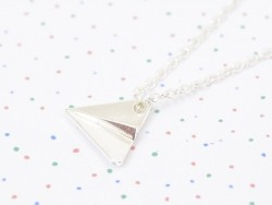 Delicate paper plane necklace - silver-coloured