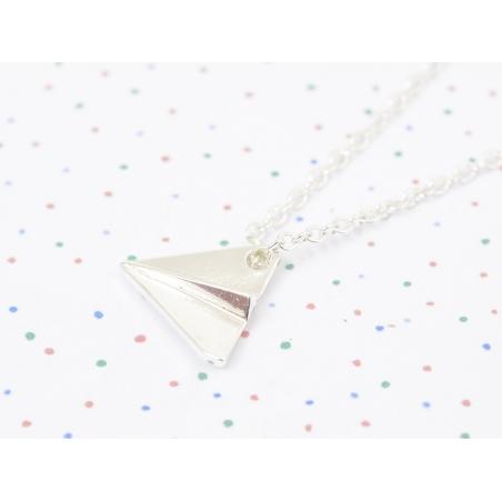 Delicate paper plane necklace - silver-coloured
