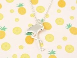 Zarte Halskette mit Flamingoanhänger - silberfarben