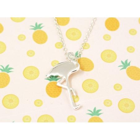 Delicate flamingo necklace - silver-coloured