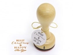 Stamp with a wooden handle - Merry Christmas and a Happy New Year