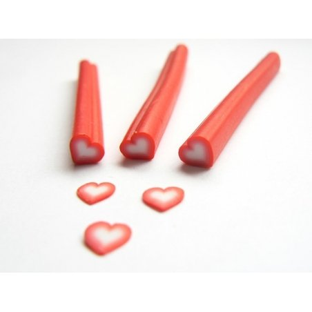 Heart cane - red and white