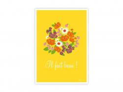 """Postkarte mit der Aufschrift """"Il fait beau!"""" (Das Wetter ist gut)"""