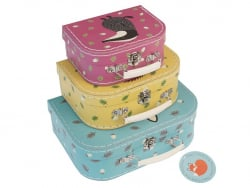 """Set of 3 suitcases with """"Rusty the Fox"""" - Fox and friends"""