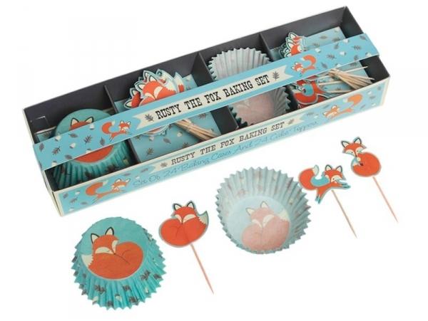 Set de 24 caissettes à cupcakes 6cm et 12 toppers - renard rusty Dotcomgiftshop - 1