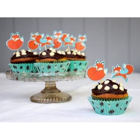 Set de 24 caissettes à cupcakes 6cm et 12 toppers - renard rusty