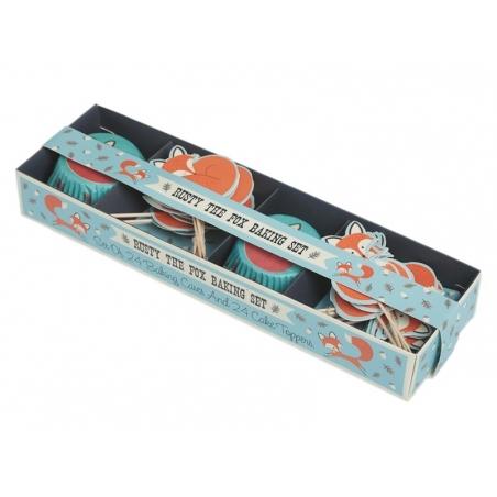 Set de 24 caissettes à cupcakes 6cm et 12 toppers - renard rusty Dotcomgiftshop - 3