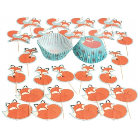 Set of 24 cupcake cases and 12 toppers - Rusty/fox