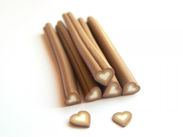 Heart cane - brown shaded
