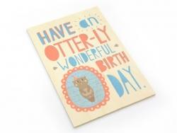 """1 Postkarte aus Holz - """"Wonderful Birthday"""""""