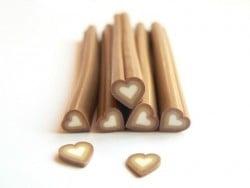 Cane coeur marron dégradé- en pâte polymère - à trancher
