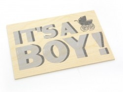 "1 Postkarte aus Holz - ""Boy"""