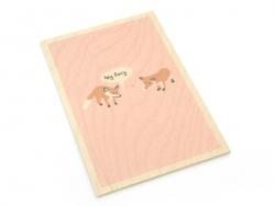 """1 carte postale en bois - """"Hey Foxy"""""""