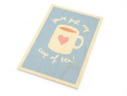 "1 carte postale en bois - ""Cup of tea"""