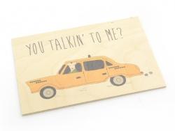 "1 carte postale en bois - ""Taxi"""
