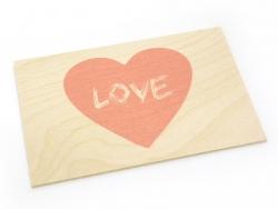 """1 Postkarte aus Holz - mit Herz und dem Wort """"Love"""""""