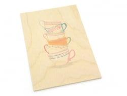 """1 carte postale en bois - """"Tasses"""""""