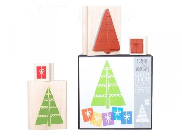 Tampon sapin de Noël + Tampon cadeau