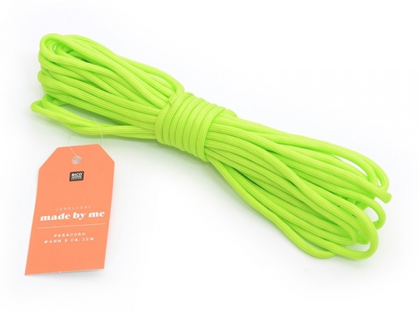 10 m of paracord, 4 mm - neon green