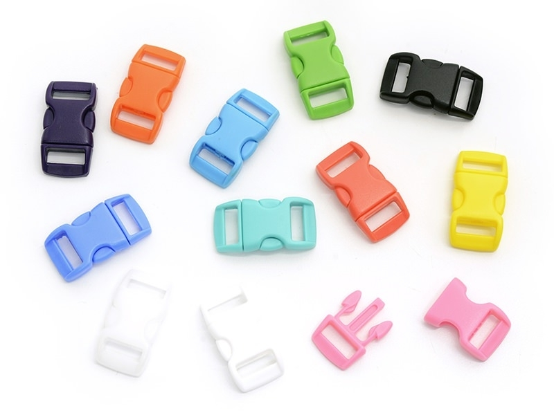 12 paracord clasps, 27 mm - multicoloured