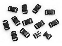 12 Verschlüsse (27 mm) für Paracord - schwarz