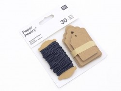 30 rectangular tags and cord - made of kraft paper