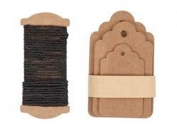 30 étiquettes rectangle et leur ficelle - kraft
