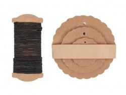 30 étiquettes rond ondulé et leur ficelle - kraft