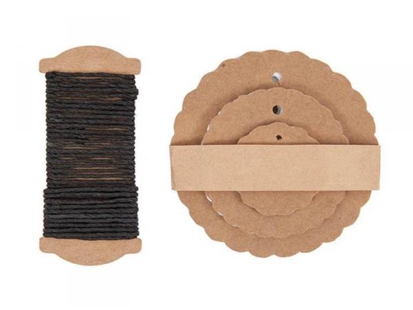 Acheter 30 étiquettes rond ondulé et leur ficelle - kraft - 4,75€ en ligne sur La Petite Epicerie - 100% Loisirs créatifs