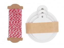 30 étiquettes rondes et leur ficelle - blanc