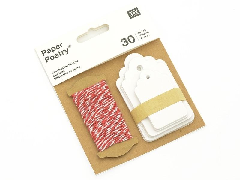 30 étiquettes rectangle et leur ficelle - blanc Rico Design - 1