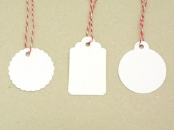 30 étiquettes rectangle et leur ficelle - blanc Rico Design - 2