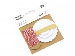 30 étiquettes rond ondulé et leur ficelle - blanc Rico Design - 1