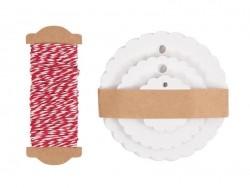 30 étiquettes rond ondulé et leur ficelle - blanc
