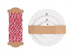 30 ornamental tags and cord - white