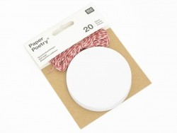 20 étiquettes rond et leur ficelle - blanc