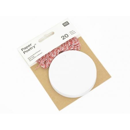 20 étiquettes rond et leur ficelle - blanc Rico Design - 2