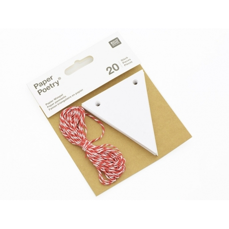 20 flag tags and a cord - white