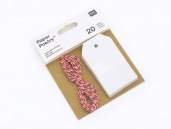 20 étiquettes rectangle et leur ficelle - blanc Rico Design - 1