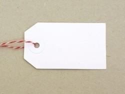 20 étiquettes rectangle et leur ficelle - blanc