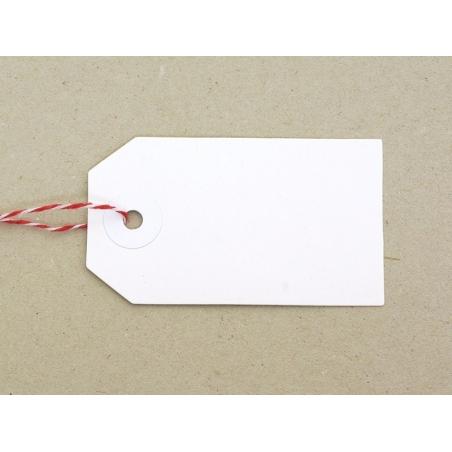 20 étiquettes rectangle et leur ficelle - blanc Rico Design - 2