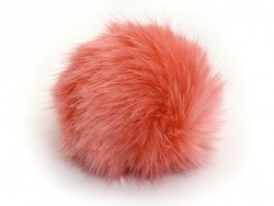 Fake fur pompom - coral red