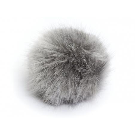 Fake fur pompom - silver grey